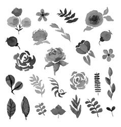 Floral set watercolor style design vector