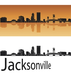 Jacksonville skyline in orange background vector