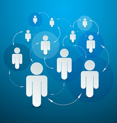 Paper People in Circles - Social Media Connection vector image