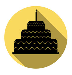 cake with candle sign flat black icon vector image vector image