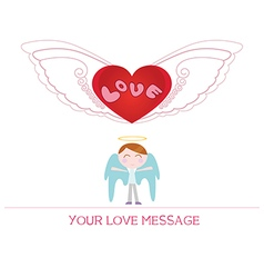 cartoon angel boy in love vector image vector image