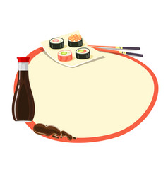 circle with red frame with soy sauce and sushi vector image vector image
