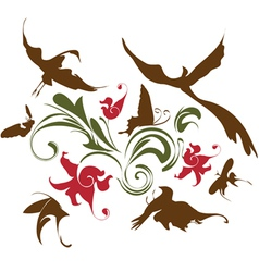 decorative composition with flowers and birds vector image