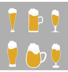 Different types of beer glasses with beer spilling vector image
