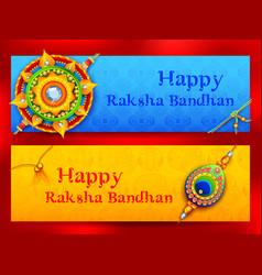 Greeting card with decorative rakhi for raksha vector