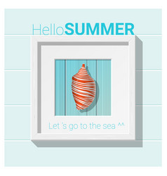 Hello summer background with seashell wall art vector