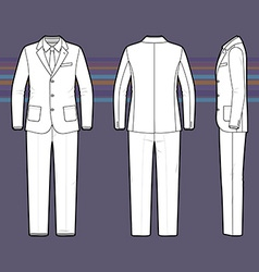 Simple outline drawing of a mens suit vector