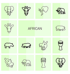 14 african icons vector