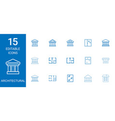 15 architectural icons vector