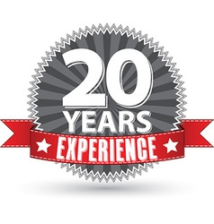 20 years experience retro label with red ribbon vector