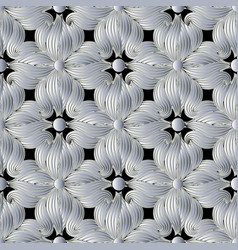 3d floral seamless pattern vector image