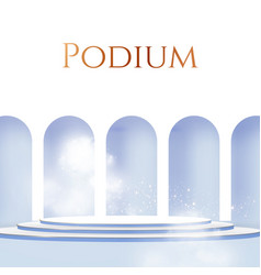 3d realistic circle podium with wall fog vector