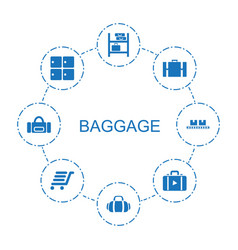 8 baggage icons vector