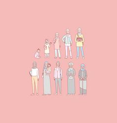 Arab woman life cycle set concept vector