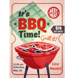 Barbecue time restaurant poster vector