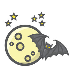 Bat with moon filled outline icon halloween scary vector