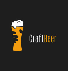 beer glass logo hand hold craft vector image