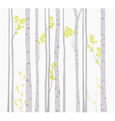 Birch tree with deer and birds silhouette backgrou vector