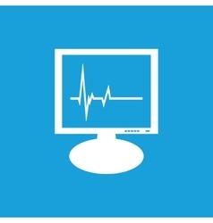 Cardiogram monitor icon white vector