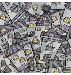 Cartoon houses seamless pattern vector image