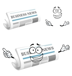 Cartoon joyful business newspaper character vector