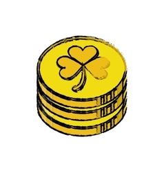 Cartoon st patrick day pile coins golden sign vector