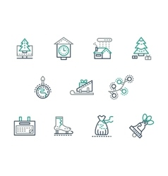 Christmas and winter simple line icons set vector image