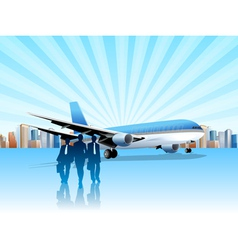 city and plane vector image