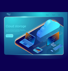 Cloud data storage web page template vector