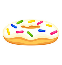 Colorful cartoon donut with sprinkles side view vector