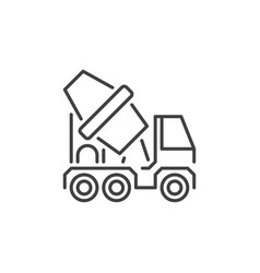 concrete mixer truck concept icon in thin vector image