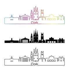 Cork skyline linear style with rainbow vector image