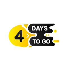 Countdown four days to go banner count time sale vector