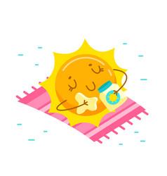 cute cartoon sun character applying cream for tan vector image