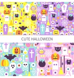 Cute Halloween Seamless Pattern Set vector