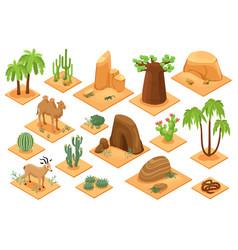 desert elements isometric set vector image