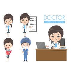 Doctor girl cute set in various gestures vector