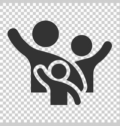 family greeting with hand up icon in flat style vector image