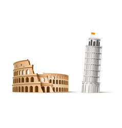 famous italian landmark pisa tower coliseum vector image
