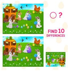 Find differences kids game with easter egg hunt vector