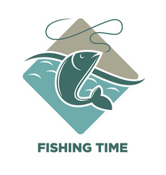 Fishing time icon of fish catch template vector