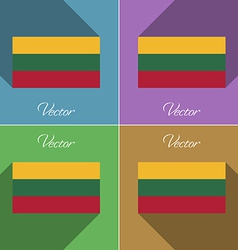 Flags Lithuania Set of colors flat design and long vector image