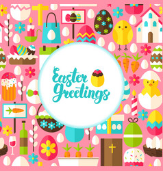 flat easter greetings postcard vector image