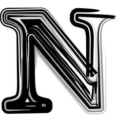 Freehand Typography Letter N vector