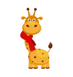 funny small giraffe wearing scarf cute vector image
