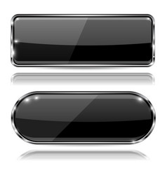 glass black buttons 3d web icons with metal frame vector image