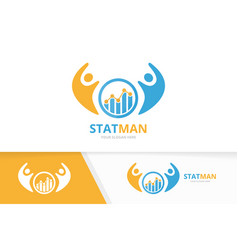 Graph and people logo combination diagram vector