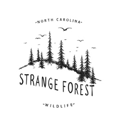 Graphic label with forest vector