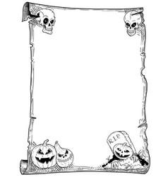 Halloween frame scroll with pumpkins vector