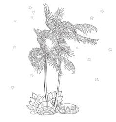 Hand drawn doodle outline palm tree vector